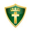 crucifix holly Christian Cross shield vector illustration