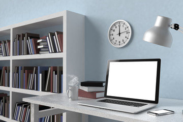 3D illustration laptop and books, Workspace