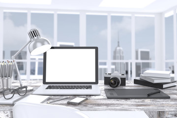 3D illustration laptop on table in office, Workspace