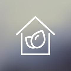 Leaf house thin line icon