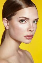 Beautiful girl's face. Natural makeup. Spa