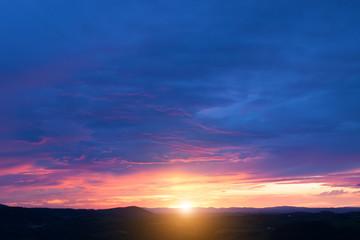 Beautiful sunset in Tuscany, Italy