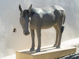 donkey monument on Santorini in Greece