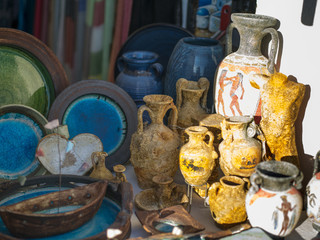 old amphora and souvenirs on Santorini in Greece