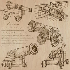 Cannons - An hand drawn vectors. Converted