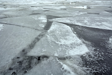 Danger frozen sea. Picture can be used as a background