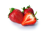 Ripe strawberries on white background poster