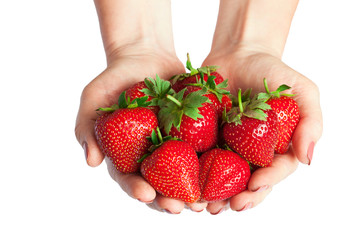 Woman holding in hands ripe fresh strawberries