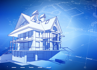 blueprint house & blue technology background