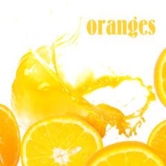 Oranges and orange juice on a white background