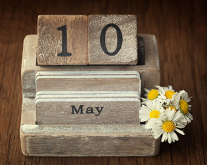 Old vintage calender showing the date 10th of May which is the d