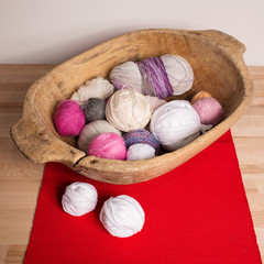Colorful wool balls