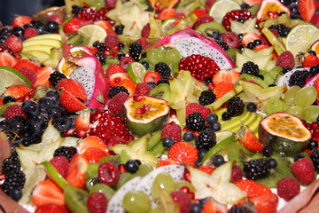 Great colorful fruit and berry cake