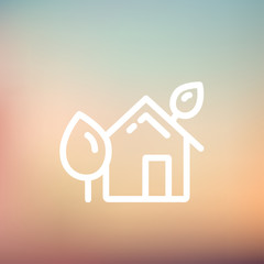 House with leaves thin line icon