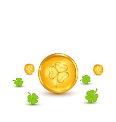 Clovers and coins with shadows on white background for St. Patri