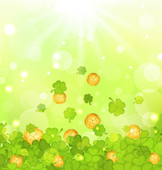 Light background with clovers and coins for St. Patrick's Day