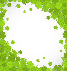 Natural frame with clovers for St. Patrick's Day, copy space for