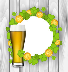 Celebration card with glass of light beer, shamrocks and golden