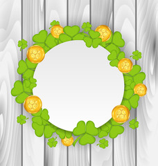 Celebration card with clovers and golden coins for St. Patrick's