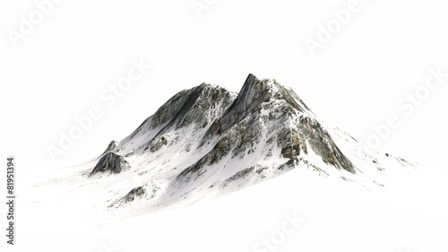 Leinwanddruck Bild Snowy Mountains - separated on white background