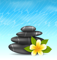 Natural background with frangipani flower (plumeria) and pyramid