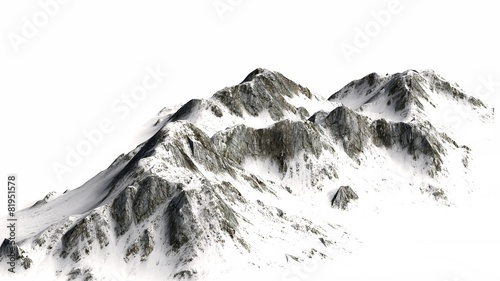 Snowy Mountains - separated on white background - 81951578