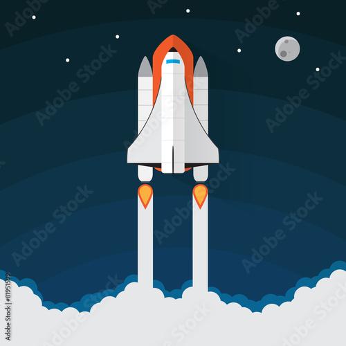 Space Shuttle Launch. Vector illustration - 81951599