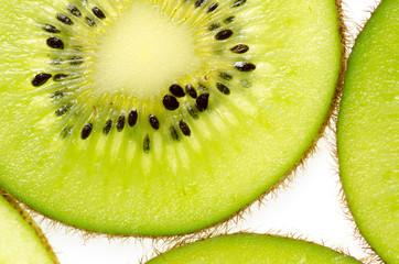 sliced of green kiwi fruit kiwi fruit on white background
