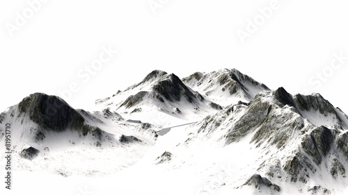 Snowy Mountains - separated on white background - 81951710