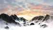 Leinwandbild Motiv Snowy Mountains - Mountain Peak in sunset sunrise