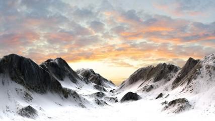 Snowy Mountains - Mountain Peak in sunset sunrise