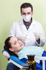 Patient afraid the dentist injection