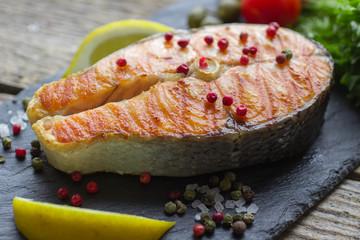 salmon steak grilled
