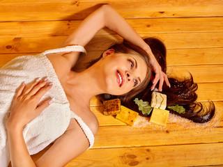 Girl in sauna.