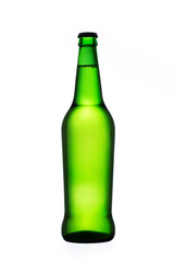 Green beer bottle isolated on white