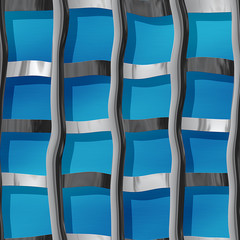 Metal pattern of steel bars on a blue background