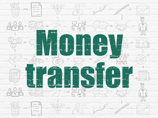 Finance concept: Money Transfer on wall background