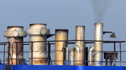 ship chimneys producing smoke