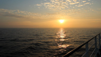 sunset view from a ship at sea