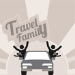 family travel, all by car over gray and white color background