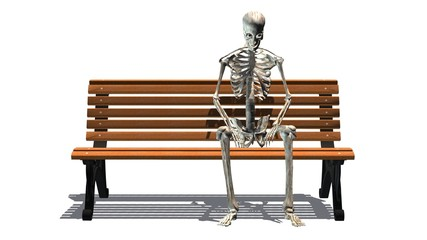 skeleton sitting on Park bench - separated on white background