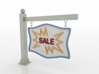 Sale Signboard on Post with Chains on White Background