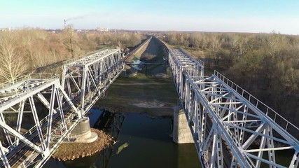 Railway bridge, filming from the top - aerial survey