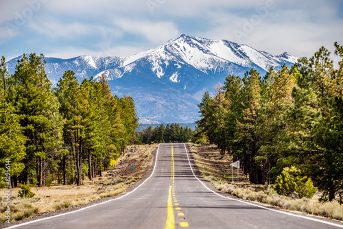 Poster Arizona landscape with Humphreys Peak Tallest in Arizona