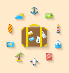Flat set icons tourism objects and equipment with suitcase, long