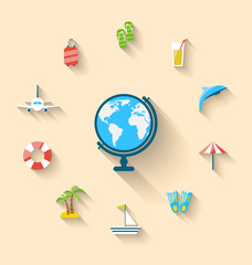 Flat set icons tourism objects and equipment with globe, long sh