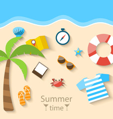 Summer Time Background with Flat Set Colorful Simple Icons on th