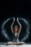 yoga woman and flour