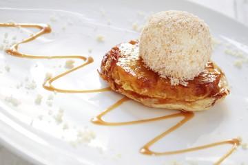 plated pineapple tarte tatin dessert