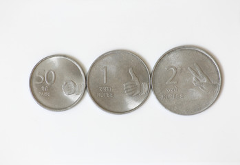 Indian currency coins isolated